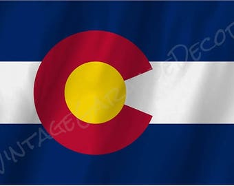 Colorado State Flag on a Metal Sign