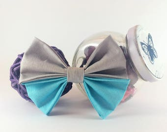 Bow tie brooch turquoise and gray