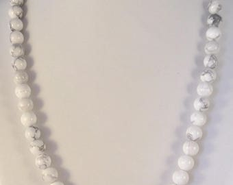Necklace with Howlite beads 8 mm simple 55 cm length, magnetic closure or choose lobster claw clasp