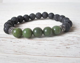 Canada 150 Men's Bracelet, Canadian Jade Bracelet, Men's Diffuser Bracelet, Chakra Bracelet, Lava Stone Jewelry, Aromatherapy Bracelet