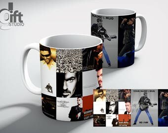 GEORGE Michael Personalised Music wall TRIBUTE White Coffee MUG