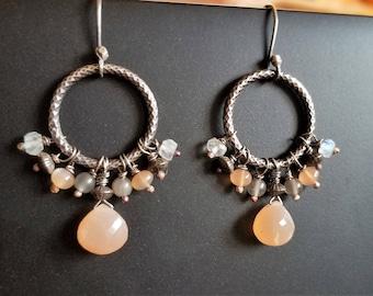 multi moonstone, oxidized sterling silver earrings, cluster earrings, high quality moostone