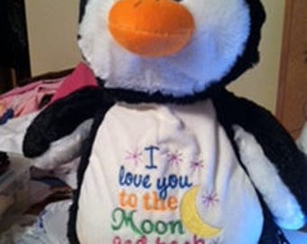 Penquin - Custom Embroidered - Stuffed - 15""