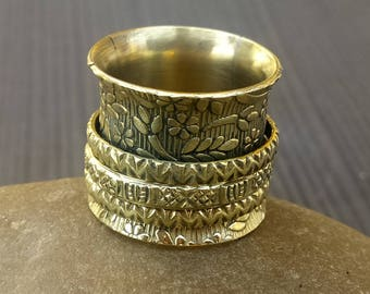 Brass Spinner rings | Indian fusion rings | 3 Spinning rings band | Handcrafted wide worry prayer bands | Meditation jewelry bands | AR141