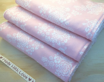 Baby burp cloths, set of 3, 'Pink Bouquet' print, baby shower, baby gift