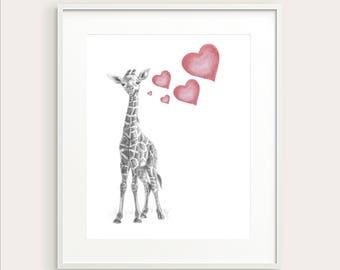 Baby Giraffe. Nursery Art. Nursery Decor, Baby Animal. Nursery Print. Baby's Room Decor.Giraffe. Animal Drawing. Kid's Wall Art. Kid's Room