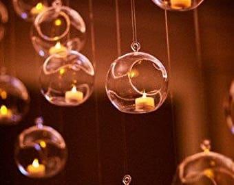 """3.5"""" Bubble Terrarium Hanging Glass Vases Orbs Plant Candle Tea Light - 6pcs"""