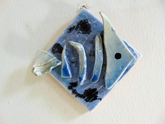 Ceramic Fish Bones : Ceramic fishbones wall decor blue clay fossil of fish