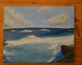 """Ocean Spray- Acrylic painting. 20x 16"""""""