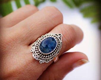 Natural Kyanite Ring, Blue Kyanite Sterling Silver Ring, Gemstone Ring,Oval Kyanite Ring, Kyanite Jewelry,Crystal Reiki Jewelry,Vintage Ring