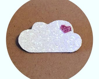 "brooch ""cloud love"" glitter in white and pink glitter"