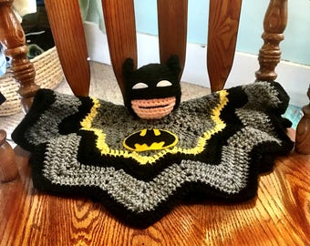 Batman Plushie, Batman Lovie, Batman Security Blanket, Crochet Batman