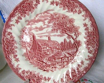 """Churchill The Brook Pink and White Transferware Thatched Cottage English  Ironstone 10"""" Dinner Plate / Red and  White Transferware"""