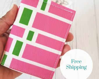 Pink Green Wallet, Pink Wallet, Small Wallet, Small Women Wallet, Business Card Wallet, Credit Card Wallet, Credit Card Case, Gift Idea
