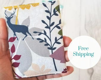Floral Wallet, Deer Wallet, Maroon Green Yellow Wallet, Small Women Wallet, Business Card Wallet, Credit Card Wallet, Credit Card Case