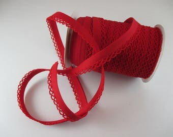 lace decor, red, 12mm fabric bias tape.