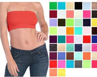 Basic colors stretch strapless layering tube top bra Plain BANDEAU Underwear Tee