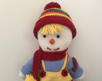 Knitted Suzie Scarecrow 39cm tall 100% Australian Wool