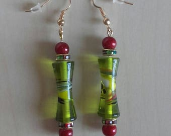 Pomegranate with green glass original earrings, unique