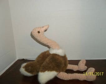 vintage 1998 ty beanie buddies stretch ostrich plush