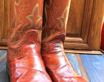 DAN POST Vintage Cowboy Boots Exotic Eel Skin Size 9D/  Mens Cognac Brown Leather Western Boots/ Vintage Dan Post Eel Skin/ Made in Mexico