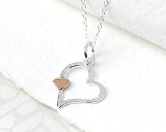 Faye Heart Pendant, Sterling Silver, Heart Necklace, Heart Jewelry, Hammered Heart, Hammered Pendant, Hammered Jewelry, Heart Jewelry,