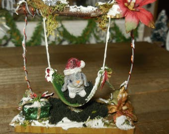 Christmas Swing with Santa Hat Bunny and Gazing Ball, Miniature Fairy Garden Swing, Winter Fairy Miniatures and Holiday Home Decor