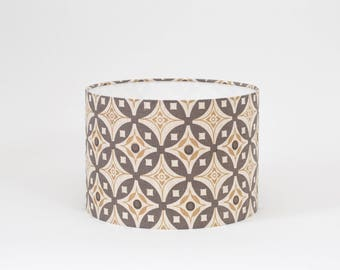 Elmas Charcoal Grey and Antique Beige Lampshade - 20cm Diameter - Grey and Beige Lampshade - Elmas Lamp Shade - Geometric Lampshade