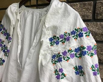 Vintage Embroidered Dress Ukrainian Vyshyvanka Handmade Blue Flowers Embroidery.