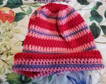 Purple/Red/Pink Striped Beanie