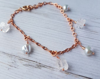 Genuine Gemstone Bracelet, Rose Gold Plated Bracelet, Fresh Water Pearl Bracelet, Quartz Bracelet, June Birthstone, Perfect Gift.