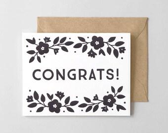 Floral Congrats Letterpress Greeting Card