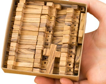 50 olive wood handmade small crosses for rosaries, charms, key chain or necklace in the handmade paper craft box
