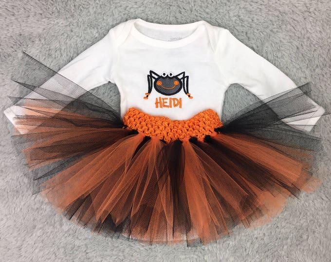 Preemie Halloween outfit - preemie tutu, preemie bodysuit, preemie gift set, personalized Halloween outfit, NICU Halloween, baby spider