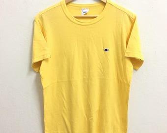 RARE!!! Champion Small Logo Embroidery Crew Neck Yellow Colour T-Shirts L Size