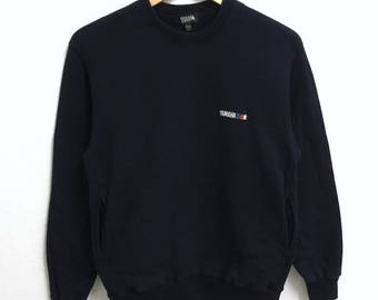 RARE!!! YAMAHA Small Logo Embroidery Crew Neck Dark Blue Colour Sweatshirts Hip Hop Swag M Fit S Size