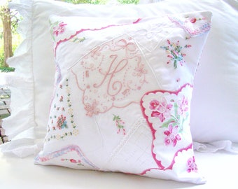 Monogram Nursery Pillow, Pink, Baby Girl Nursery, Personalized Monogram, Nursery Monogram, Pink Crazy Quilt Pillow Cover Bed Pillow