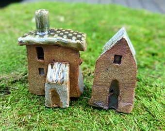 Tiny house, Miniature house, ceramic house, Little houses, Small clay house, Ceramic house, tiny village, clay town, terrarium decor, SET