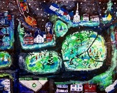 Original painting: Amherst, NH - tree lighting with bear pulling sleigh; 9x12, acrylic