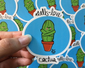 Self-Love Cactus Vinyl Sticker