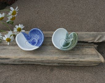 Ceramic love heart dishes with coloured glaze