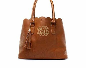 Monogram Scallop Tassel  tote bag in Brown, personalized scallop tote, monogram scallop bag, personalized purse, camel scallop purse