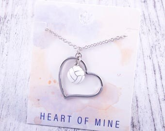 Customizable! Heart of Mine: Volleyball Enamel Necklace - Great Volleyball Gift!