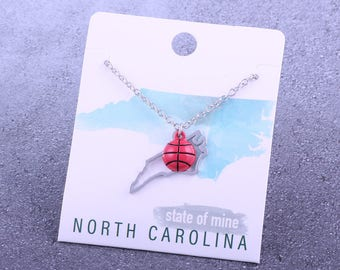 Customizable! State of Mine: North Carolina Basketball Enamel Necklace - Great Basketball Gift!