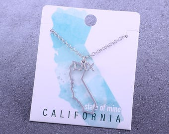 Customizable! State of Mine: California LAX Silver Lacrosse Necklace - Great Lacrosse Gift!
