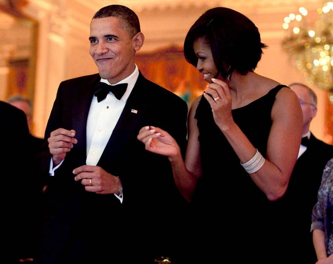 President Barack Obama and First Lady Michelle Obama Dance During the Governors Ball in 2010 - 5X7, 8X10 or 11X14 Photo (ZY-540)