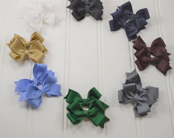 School Uniform Pigtail Bows - YOU CHOOSE COLORS - School Uniform Hair Accessories - Uniform Hair Bows - Back to School Bows - Fall Hair Bows