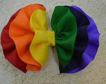Rainbow Hair Bow - Rainbow Hair Clip - Rainbow Hair Bow Clip - Ruffle Bows - Ruffle Hair Bow - Colorful Hair Clip - Ribbon Bows - Girls Bows