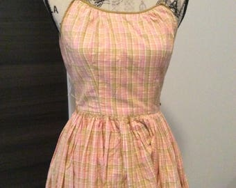 Summer Dress  plaid pink and yellow