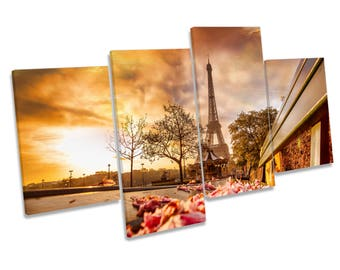 Eiffel Tower Paris Floral Sunset CANVAS WALL ART Multi Box Framed Print Picture